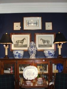 Navy blue walls with blue & white china