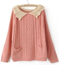 Pink Lapel Long Sleeve Pockets Pullovers Sweater
