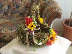 Flower girl basket rustic decorated with colorful by NewBrideCo, $26.00