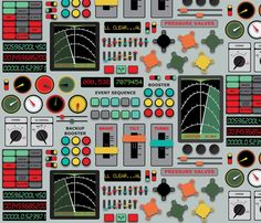 Control_Panel fabric by michelesworkshop on Spoonflower. This would be a cute pillow case for a space themed kid's room!