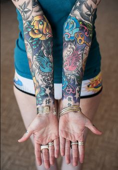 Amazing sleeves on this girl. #tattoo #tattoos #ink #inked