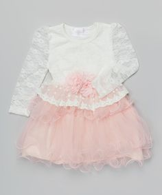 Another great find on #zulily! White & Pink Lace Peplum Ruffle Dress - Toddler & Girls by Blossom Couture #zulilyfinds