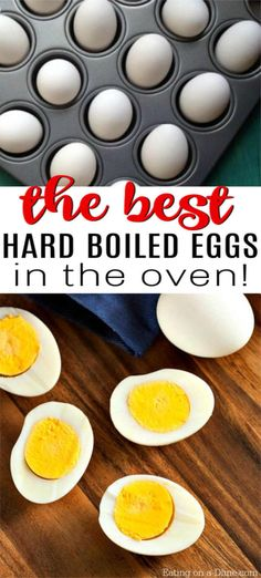 Tips Eggs How to make hard boiled eggs in the oven quickly. Baked hard boiled eggs is easy to make and perfect for a huge party or Easter. All you need for this recipe is eggs, a muffin tin and water. You'll never make ovens on the stovetop again! Baked Hard Boiled Eggs, Cooking Hard Boiled Eggs, Perfect Hard Boiled Eggs, Hard Boiled Egg Recipes, Baked Eggs, Oven Boiled Eggs, Bake Eggs In Oven, Marshmallows, All You Need Is