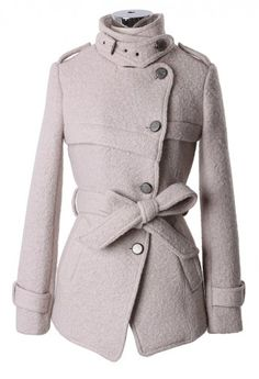 Military Style Belted Trench Coat in Pearl White - Outers - Retro, Indie and Unique Fashion
