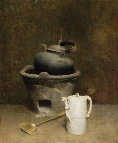 DINES CARLSEN American Chinese Teapot and Pewter Kettle oil on canvas, panel backed, signed lower right. Still Life 2, Still Life Drawing, Painting Still Life, Classical Realism, Art Addiction, Classic Paintings, Oil On Canvas, Tea Pots, Fine Art