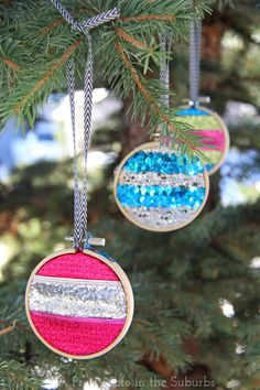 Merry & Bright Embroidery Hoop Ornaments