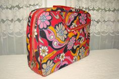 Retro Cloth Suitcase. Patterned. Red Flower Power Fabric. Tote. Child or Adult. Adorable. Red, Pink, Yellow, Black.