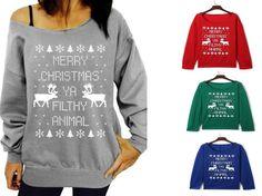 Choies Red Black Gray Green  Elk Letter Print Long Slash Neck Sweatshirt Brand #choies #Fashion