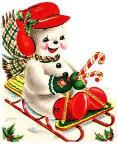 Vintage Christmas Card Snowman Birds