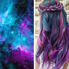 Pin for Later: 15 Rainbow Hair Trends That Dominated Salons in 2015 Galaxy If you want space hair, ask your colorist to create swirling patterns on your strands in nebula-inspired shades. Love Hair, Gorgeous Hair, Galaxy Hair Color, Galaxy Colors, Cool Hair Color, Hair Colors, Mermaid Hair, Rainbow Hair, Purple Hair
