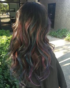 Stunning @_crystalbueno let me play! Oil Slick Color by me! #oilslickhair…