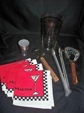 VTG Federal Glass Cocktail Shaker w/ Drink Recipes & 4 Bar Items + Napkins