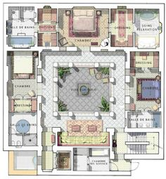 "Resultado de imagem para ""riad"" ""floor plan"" home interior garden Islamic Architecture, Architecture Plan, Morrocan Architecture, Casa Patio, Internal Courtyard, Moroccan Interiors, Spanish House, Spanish Patio, Spanish Home Decor"