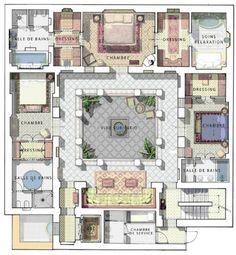 Plan of villa ground floor oasis bab atlas marrakech - Maison marocaine avec patio ...