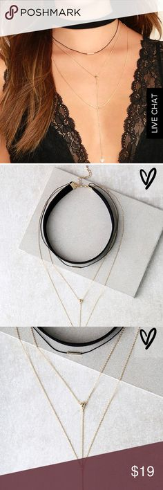 """NWT Black and Gold Layered Choker Necklace Soft black felt choker necklace joined by three layers of chain with gold and Rhine stone embellishments. Choker measured 11"""" with 2"""" extender chain. Lulu's Jewelry Necklaces"""
