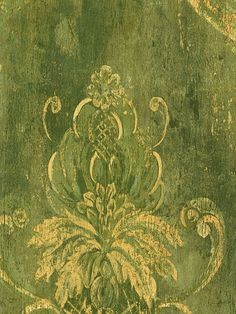 gorgeous green baroque wall paper