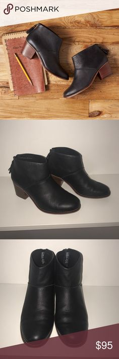 """BLACK FULL GRAIN LEATHER WOMEN'S LEILA BOOTIES Worn a few times. No visible wear besides the bottoms of the shoes. Toms version of the ankle bootie starts with a stacked mid-heel and zips up the back. Designed in gorgeous full-grain leather, you'll wear this staple with everything from skirts to cuffed jeans. Leather welt and stacked heel Comfort insole Rear zipper with tassel Heel height is approximately 2 ¼"""" TOMS Shoes Ankle Boots & Booties"""