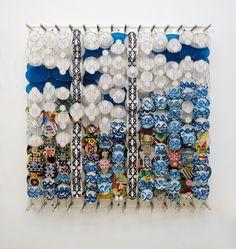 Jacob Hashimoto, On the Nature of Heroes, 2012, bamboo, paper, dacron, acrylic, 122 x 122 x 20 cm