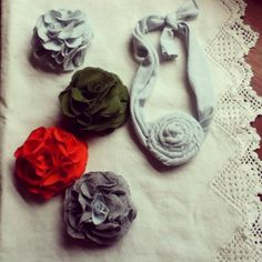 T-shirts upcycled into flower hair clips and headband.