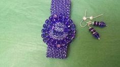 Blue Herringbone Beaded Bracelet with beaded focal clasp.  One of my favorite beading projects, thanks to Jill Wiseman (Center Stage Bracelet).