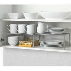 Product Image for .ORG Metal Mesh Expandable Cabinet Shelves 1 out of 3 Kitchen Cabinet Organization, Kitchen Shelves, Storage Cabinets, Diy Kitchen, Kitchen Storage, Kitchen Design, Kitchen Decor, Glass Shelves, Kitchen Ideas