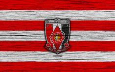 Download wallpapers Urawa Red Diamonds, 4k, emblem, J-League, wooden texture, Japan, Urawa Red Diamonds FC, soccer, football club, logo, FC Urawa Red Diamonds