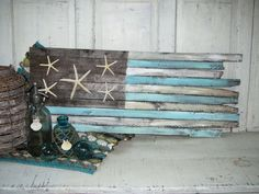 Driftwood & Starfish Coastal American Flag Decor