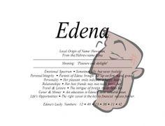 FirstNameStore.com.: Edena name means pleasure and delight