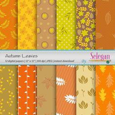 Autumn Leaves Digital Paper Scrapbook12x12by Selegan on Etsy Download here:- https://www.etsy.com/listing/246214674