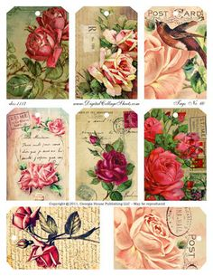Instant Download Rose Tags Collage Sheet- Altered Postcards - DCS-1117 DigitalCollageSheets- Floral Images, Printables, Downloads .