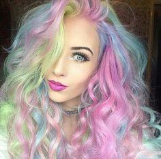Neon pastel rainbow hair