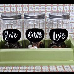 Label money jars to teach kids about giving, saving and spending money.