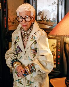 "Iris Apfel - ""Oh, that's bread and wine to me. I'd rather go to a flea market than just about anything. It's the process I like...if it's a piece of fabric, I listen to the threads. It's not intellectual at all. The price is nothing. It's the emotional content: I have to feel it in my gut. I don't know how to explain it other than that."""