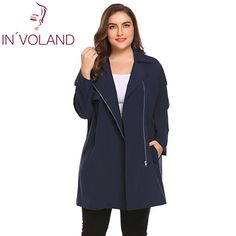 IN VOLAND Plus Size 4XL Women Trench Coat 2018 Autumn Lapel Long Sleeve -  US  23.62 9bc18d2cfb60b
