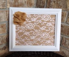 Burlap  lace frame with picture of mommy, daddy and newborn baby to put in the nursery.
