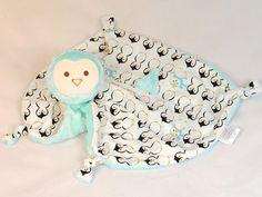 Security Blanket, Lovey, Baby Blanket, Tiffany Blue Minky Penguin, Stuffed Animal Blanket, Plush Toy, Ready to Ship on Etsy, $22.00
