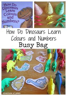 How Do Dinosaurs Learn Colours and Numbers Busy Bag. Use dinosaur counters and Twinkl resources to practise toddler and pre-school counting, colour and number recognition.  Adventures of Adam How Do Dinosaurs Learn Colours and Numbers Busy Bag