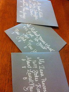 handwritten envelopes Hand Lettering Envelopes, Calligraphy Envelope, Envelope Addressing, Learn Calligraphy, Handwritten Letters, Wedding Calligraphy, Invitation Ideas, Invites, Wedding Invitations
