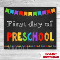 First Day of Preschool Sign. First Day of Kindergarten Sign. First Day Of School First Day of Preschool Sign. First Day of Kindergarten Sign. First Day Of School. First Grade, Second Grade, Hudson School, Sunday School Crafts For Kids, Craft App, Kindergarten First Day, School Signs, Schools First, Classroom Displays