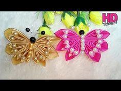 DIY || Kupu-kupu || Butterfly || how to make satin ribbon flower || HD TUTORIAL - YouTube Satin Ribbon Flowers, Ribbon Art, Diy Ribbon, Ribbon Crafts, Fabric Flowers, Paper Flowers, Hand Embroidery Tutorial, Ribbon Embroidery, Kanzashi Flowers