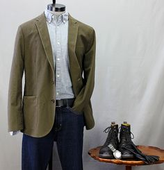 How to Wear It: The J. Crew Factory Moleskin Blazer   With Black Leather Boots & Belt