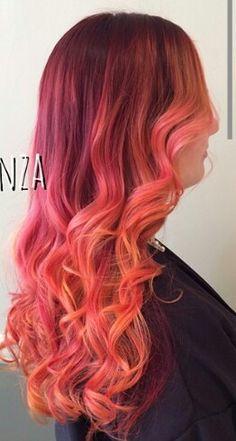 Burgundy orange ombre hair