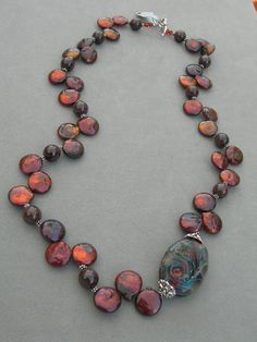 Coin Pearls with Lampwork bead by Lisa Fletcher