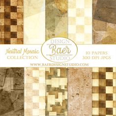 Natural Mosaic Digital Paper Pack  The benefit of purchasing digital backgrounds and digital clip art is the ability of using the purchase over and over again. Purchase once, download onto your computer or tablet and you are ready to go! Use the images for your wedding, personalized family cards, baby showers, holidays and anniversaries. Create your own brand!
