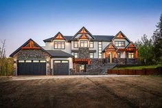 Plan Rugged Modern Mountain Craftsman House Plan with Optional Finished Lower Level - Architecture - Dream House Exterior, Dream House Plans, House Floor Plans, Big Houses Exterior, Stone House Plans, Large House Plans, Exterior Homes, Wall Exterior, House Exteriors
