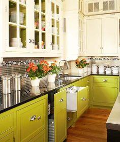 grüne-retro-Küchenschränke