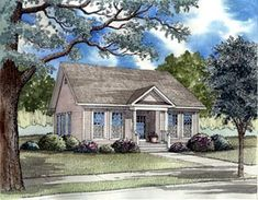 Elevation of Bungalow   Colonial   Country   Ranch   Southern   House Plan 62021