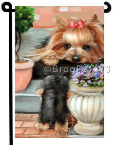YORKIE-painting-GARDEN-FLAG-Dog-Art-Yorkshire-Terrier-puppy
