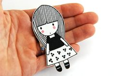 LITTLE GIRL ILLUSTRATION - Encogimiento plástico broche COSTANZA por myLadiesshop en Etsy