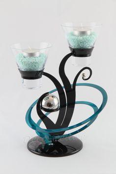 Design-Teelichthalter  schwarz-türkis
